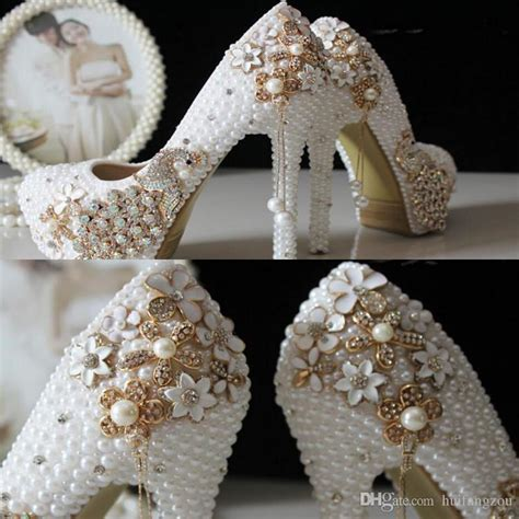 Wedding Shoes With Pearls And Crystals by 2015 Glitter Cheap Wedding Shoes Pearls Crystals