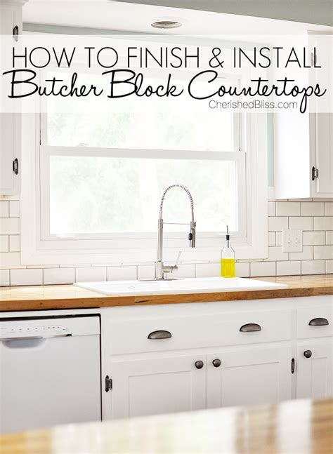 Finishing Butcher Block Countertops how to finish and install butcher block countertop cherished bliss