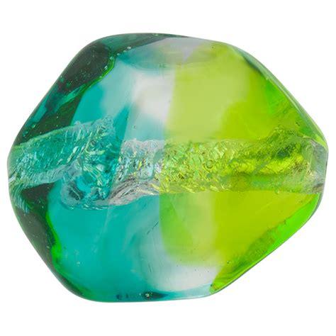 silver foil glass aqua and green silver foil poliedro 29x24mm bicolor