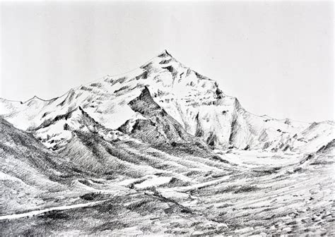 Sketches Mountains by Brush The Mighty Himalayas Sketch
