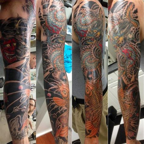 koi dragon sleeve tattoo designs koi sleeve by fish whole addiction coral