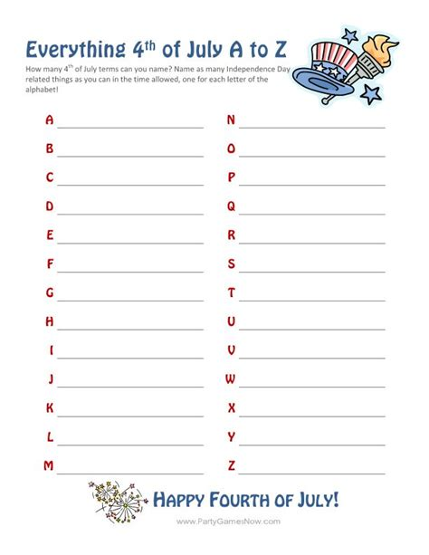 printable games a z free printable 4th of july a z game holiday decor