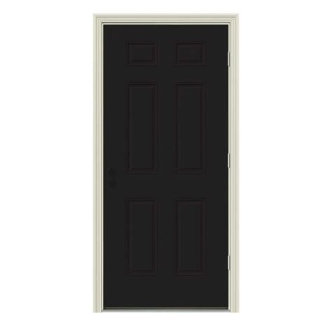 Inswing Shower Door Jeld Wen 32 In X 80 In 6 Panel Black Painted Steel Prehung Left Outswing Front Door W