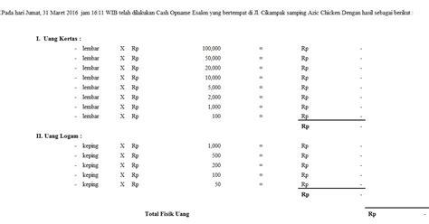 format berita acara cash opname pengertian cash opname serta contoh soalnya mochamad ali