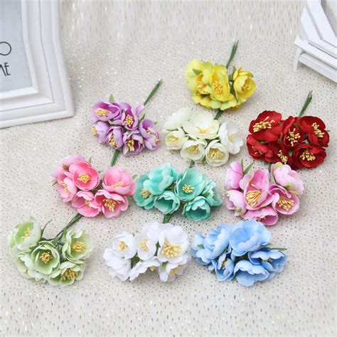 Handmade Artificial Flowers - aliexpress buy 6pcs lot mini silk artificial