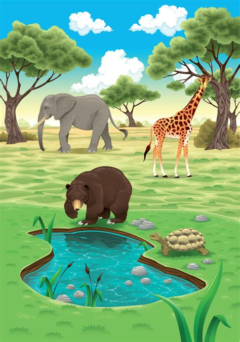 cute cartoon wild animal  natural vector