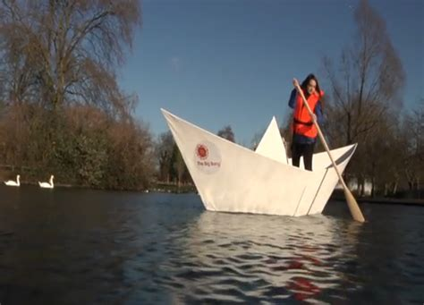 origami boat london video origami boat makes first journey in london press