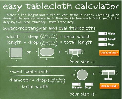 size calculator tablecloth size calculator search engine at search