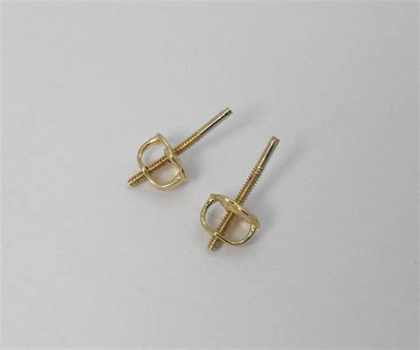 earring posts for jewelry 14k solid yellow gold pair back nuts posts