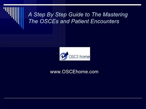 a step by step guide to mastering the osces