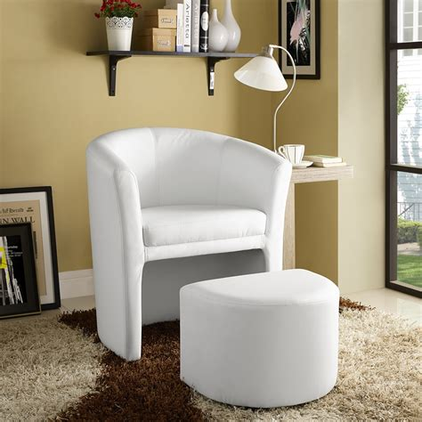 white armchair with ottoman divulge leatherette armchair and ottoman white dcg stores