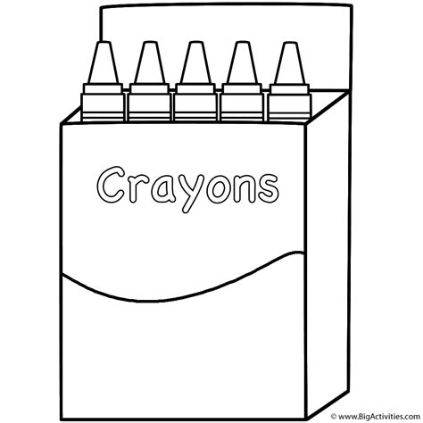 box of crayons coloring page back to school