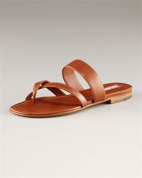 flat leather shoes for manolo blahnik susa leather flat sandal in brown lyst