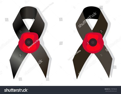 black awareness ribbon and the flower poppy a symbol