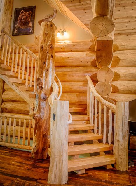 2013 parade home moose ridge cabin log home rustic staircase denver by mountain log
