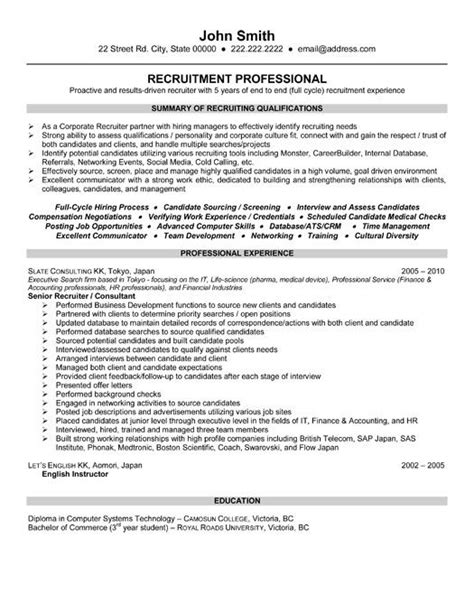 recruiter resume template executive recruiter resume hr recruiter resume sles