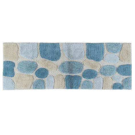 bath runner rugs chesapeake merchandising 24 in x 60 in pebbles bath rug runner in aquamarine 45093 the home