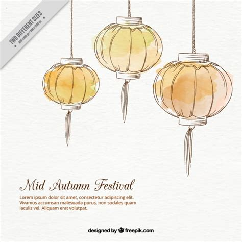 new year 2016 mooncake watercolor lanterns background for mid autumn festival