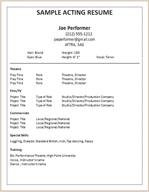 Acting Resume Template 2017 Learnhowtoloseweight Net Create Own Resume Template