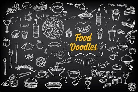 food doodle brush photoshop food doodles doodles icons and graphics