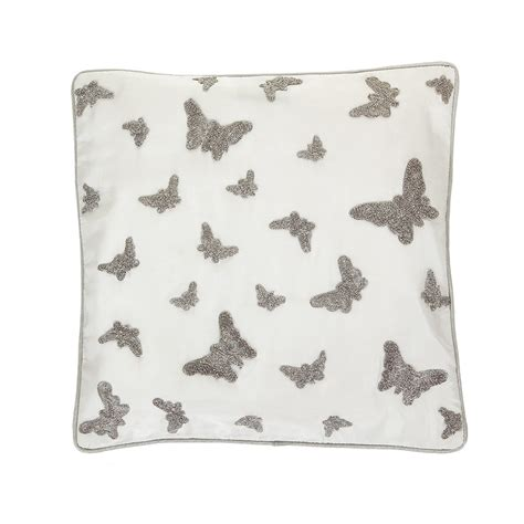 silver cushions bedroom buy gingerlily silk butterfly bed cushion silver 30x30cm amara