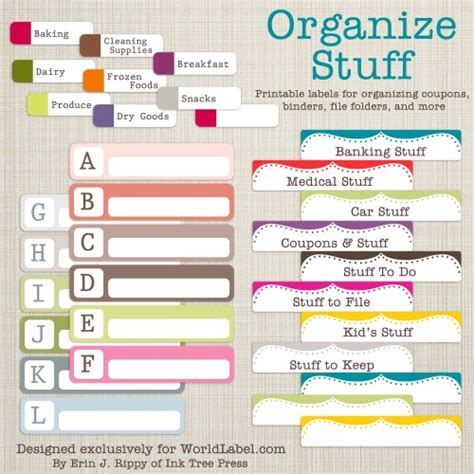 home organization templates free office and organizing label templates