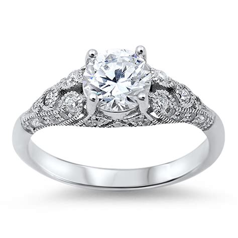 039 s vintage wedding clear cz promise ring new 925
