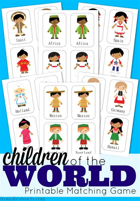 printable postcards from around the world children of the world printable matching game matching