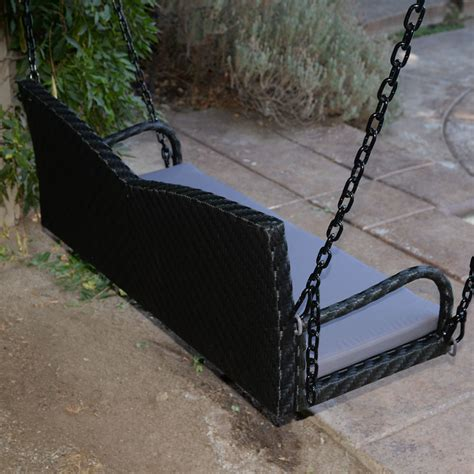 hanging bench black 52 quot patio porch swing chair bench resin wicker tree