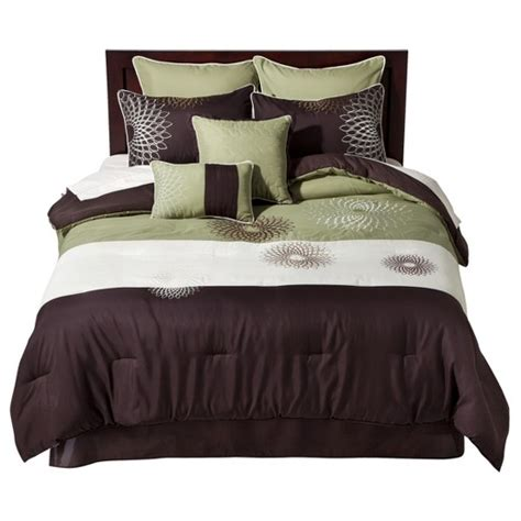 brown and green bedding medallion embroidered 8 piece bedding set green brown