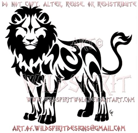 standing tribal lion design by wildspiritwolf on deviantart