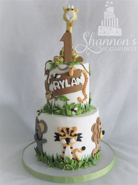 animal two boy and one 2 tier zoo theme cake for a boy turning 1