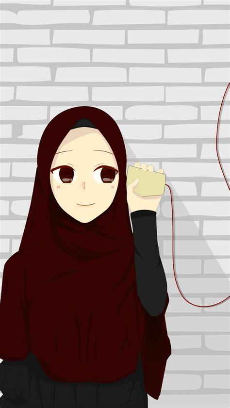gambar kartun muslimah couple romantis terpisah ala