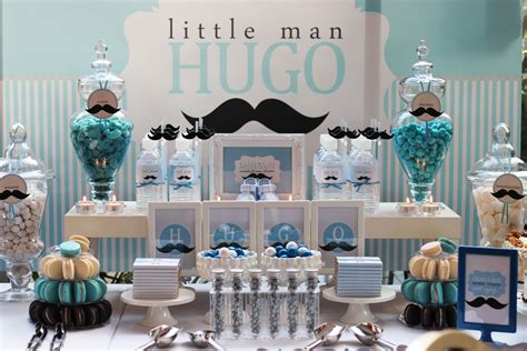 Mustache Theme Baby Shower by Hugo S Month Mustache Themed Dessert Table The