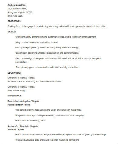 Marketing Resume Skills by 8 Sle Marketing Skills Resumes Sle Templates