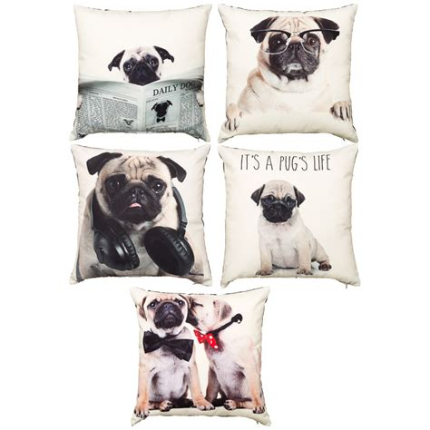 pug cushion printed pugs cushion soft furnishings