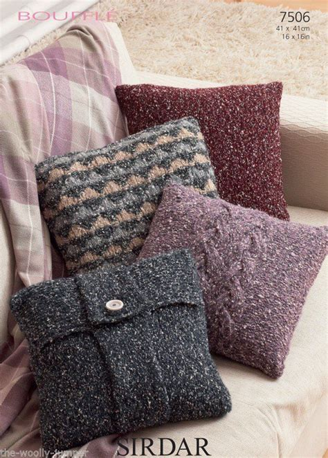 knitted cushion covers patterns uk 7506 sirdar bouffle cushion cover knitting pattern