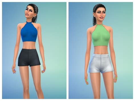 sims 4 female halter top cookiemonster s littlebigshortie plain halter crop top