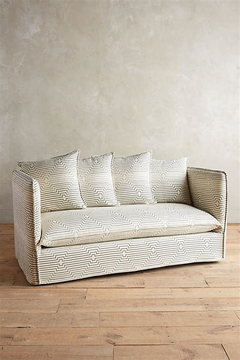 striped slipcover striped carlier slipcover settee anthropologie