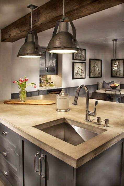 Kitchen Counter Lighting Fixtures Bare Wood Modern Kitchen Countertop With A Stainless Steel Sink In An Industrial Kitchen With