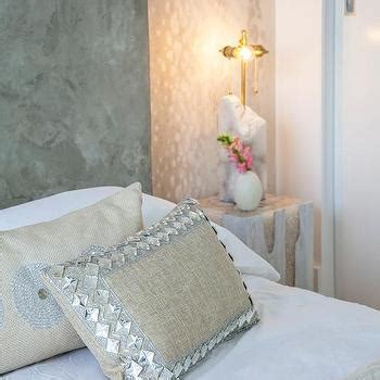grey suede headboard gray wallpaper accent wall design ideas