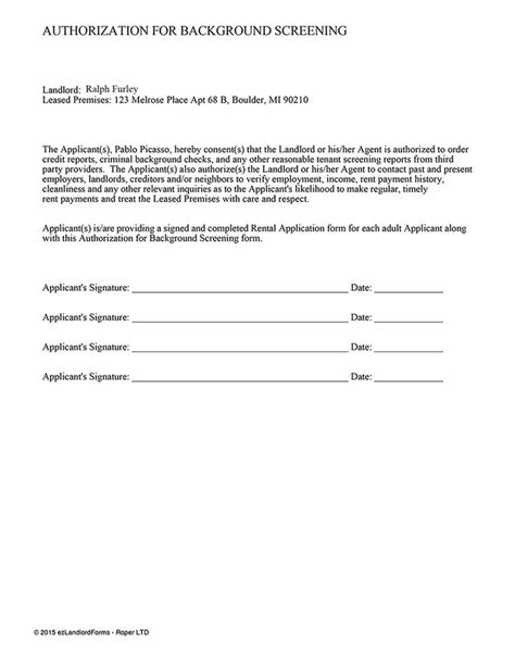 Criminal Background Check For Apartment Rental 28 Background Check Consent Form Rental Tenant Screening Authorization For