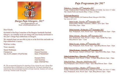 Donation Letter For Durga Puja Durga Puja Committee Glasgow
