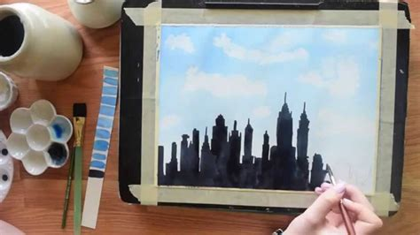 watercolor tutorial city paint the new york skyline in watercolor beginner s