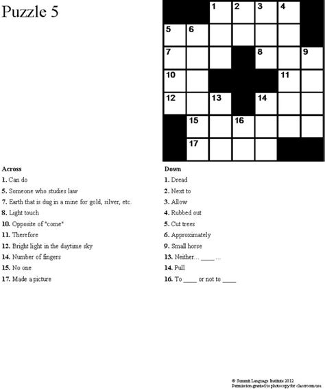 easy crossword puzzles esl summit language institute easy esl crossword puzzles book 2