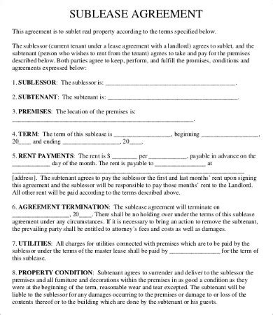 sublease agreement template word sublease contract template 8 free word pdf documents