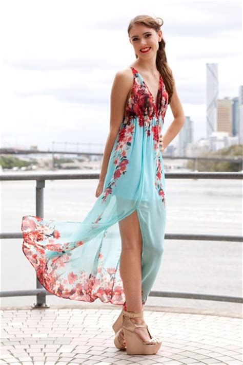 Maxi Dress By Rafif Fashion dress mint floral maxi slit backless sheer
