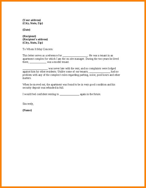 Tenant Letter Of Reference Template 6 Tenant Recommendation Letter Resumed