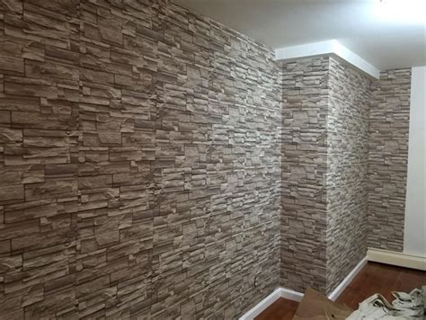 wallpaper that looks like tile home sweet home pinterest studio gets makeover using stone wallpaper totalwallcovering