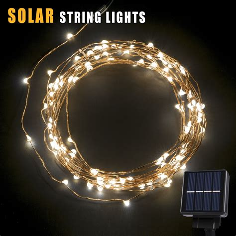 Solar Powered Patio String Lights Solar Led String Light 120 Leds Outdoor Solar Powered Led String Lights Water Ebay